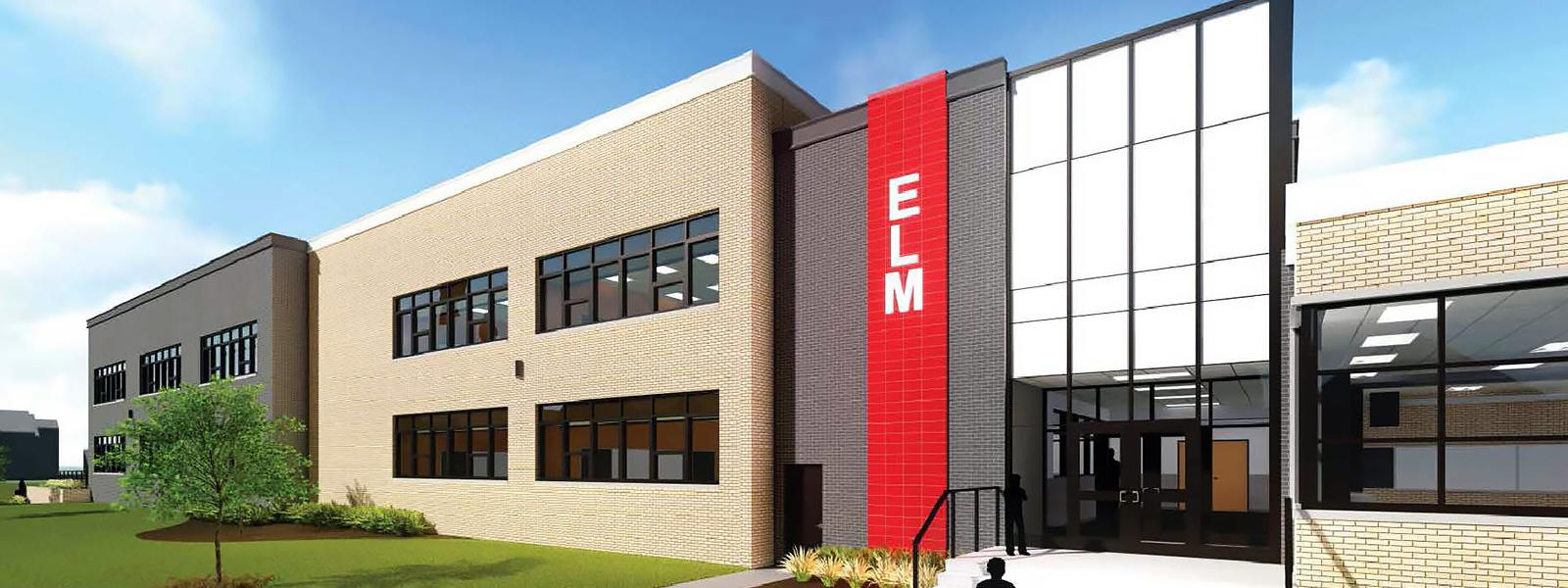 Architectural rendering of Elm's east entrance.