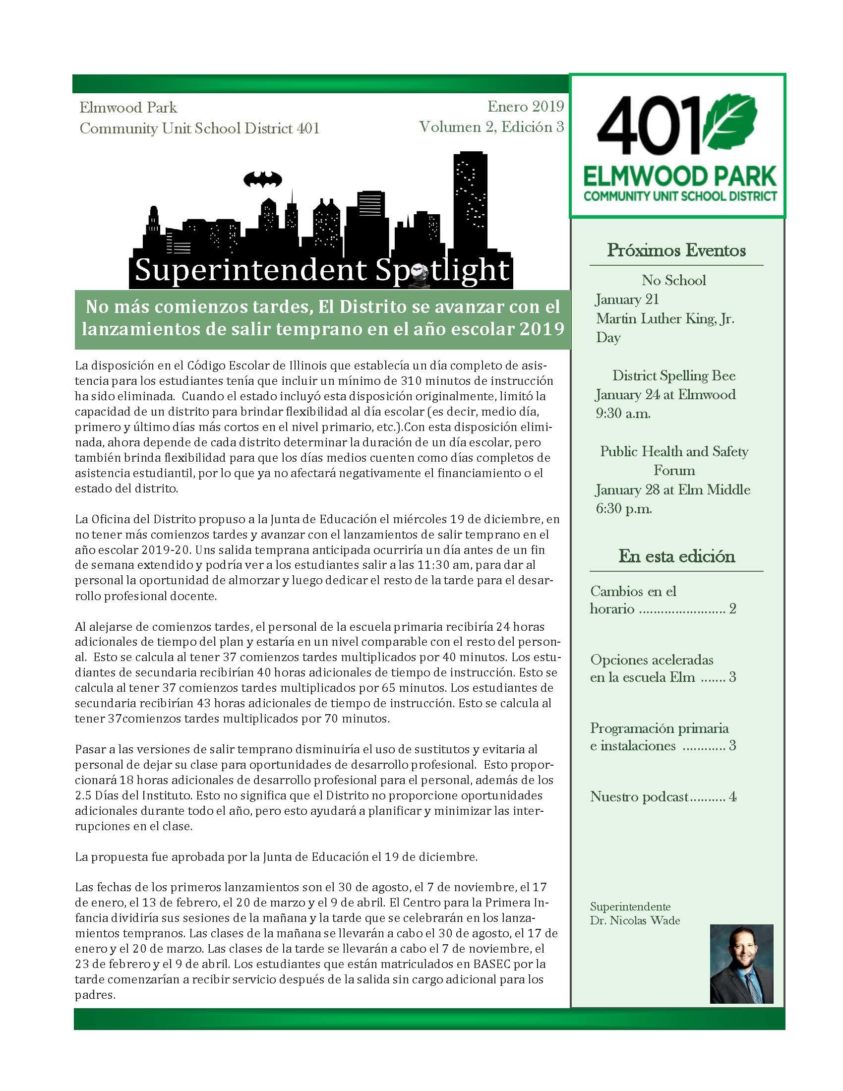 Superintendent Spotlight, Spanish edition, January 2019 issue, page 1