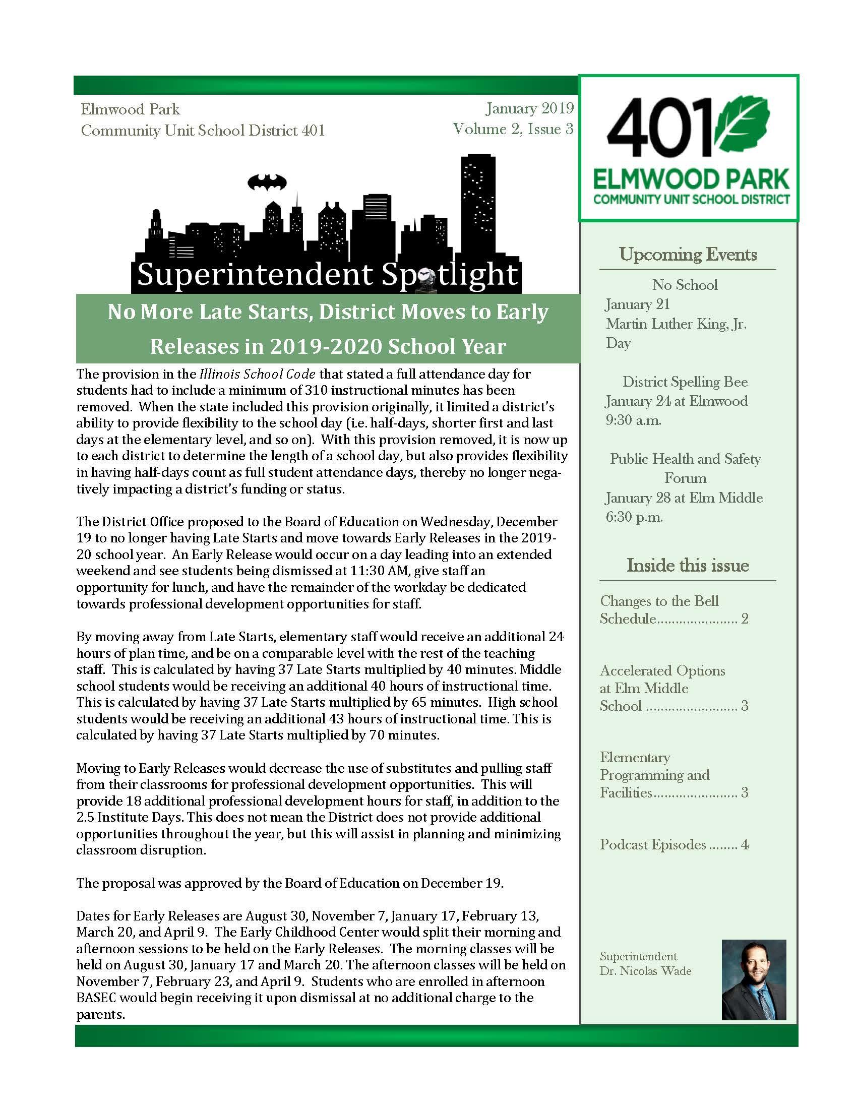 Superintendent Spotlight, January 2019 issue, page 1
