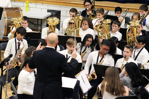 Elmwood Band members perform during the school's 2018 Winter Concert.