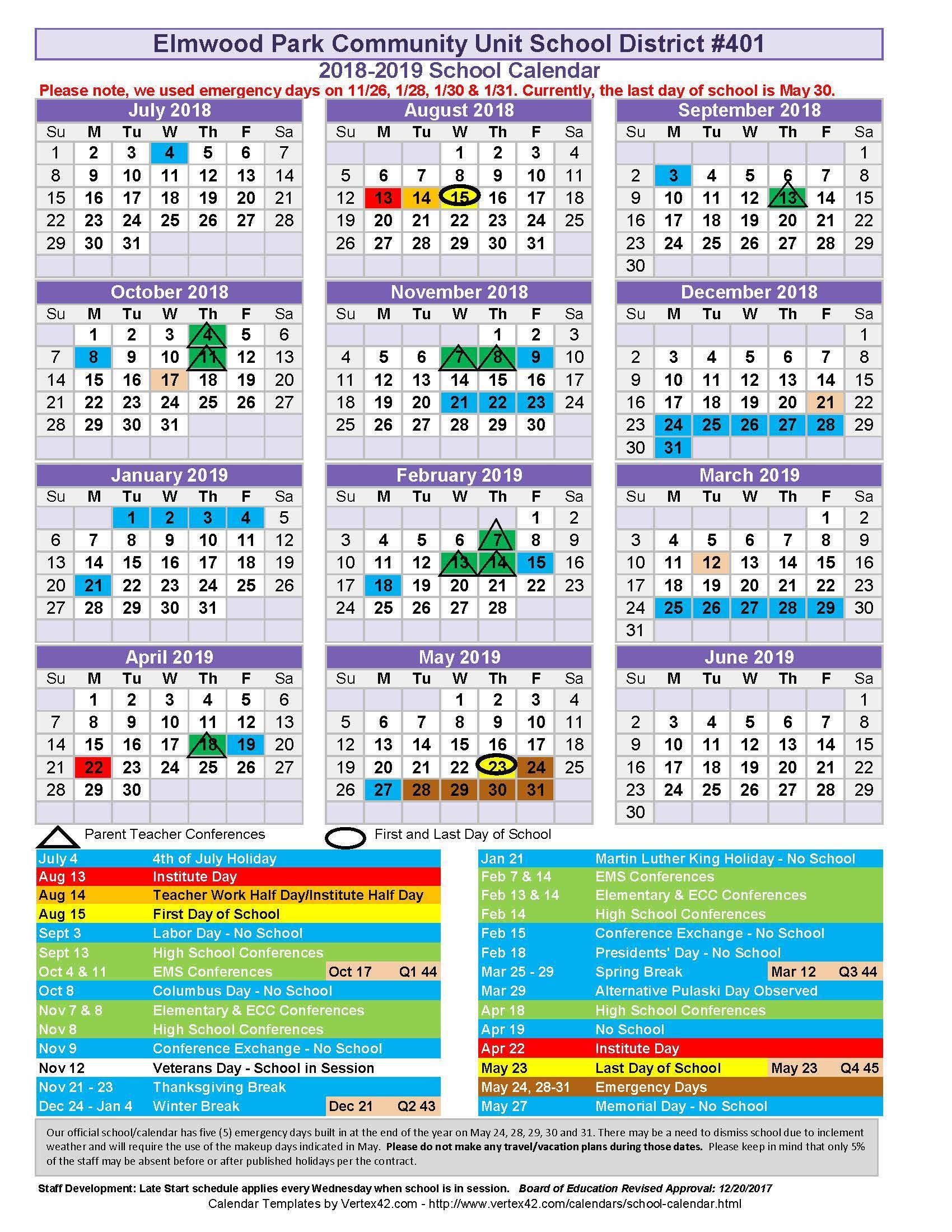 2018-19 revised school year calendar