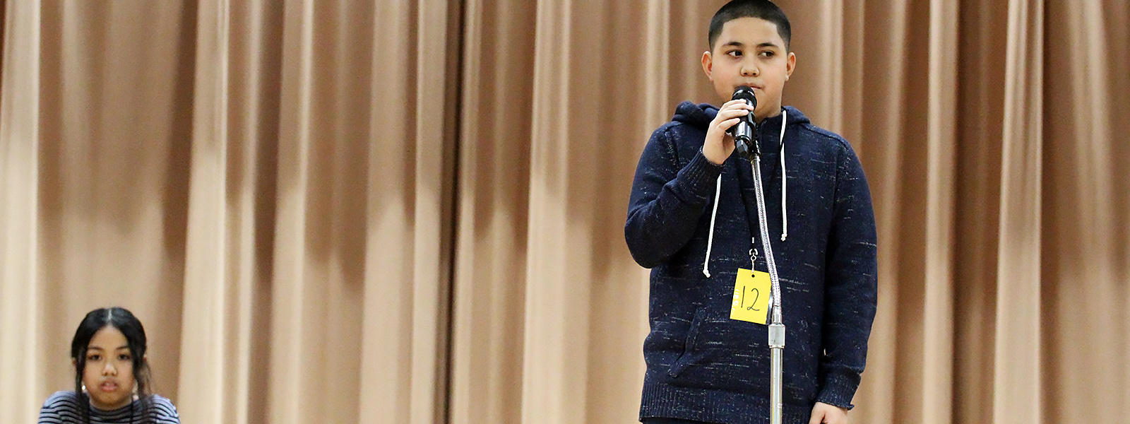 John Mills 6th-grade student Jayden Sanchez competes at this year's District Spelling Bee.