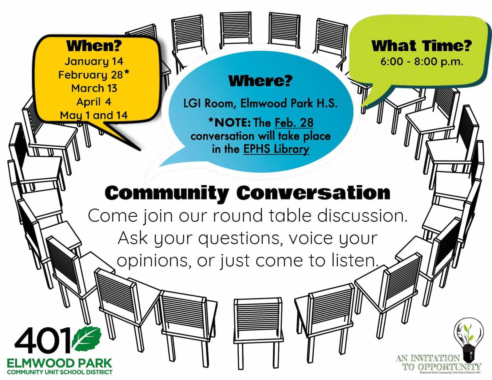Community Conversation   February 28, 2019   Upcoming Events