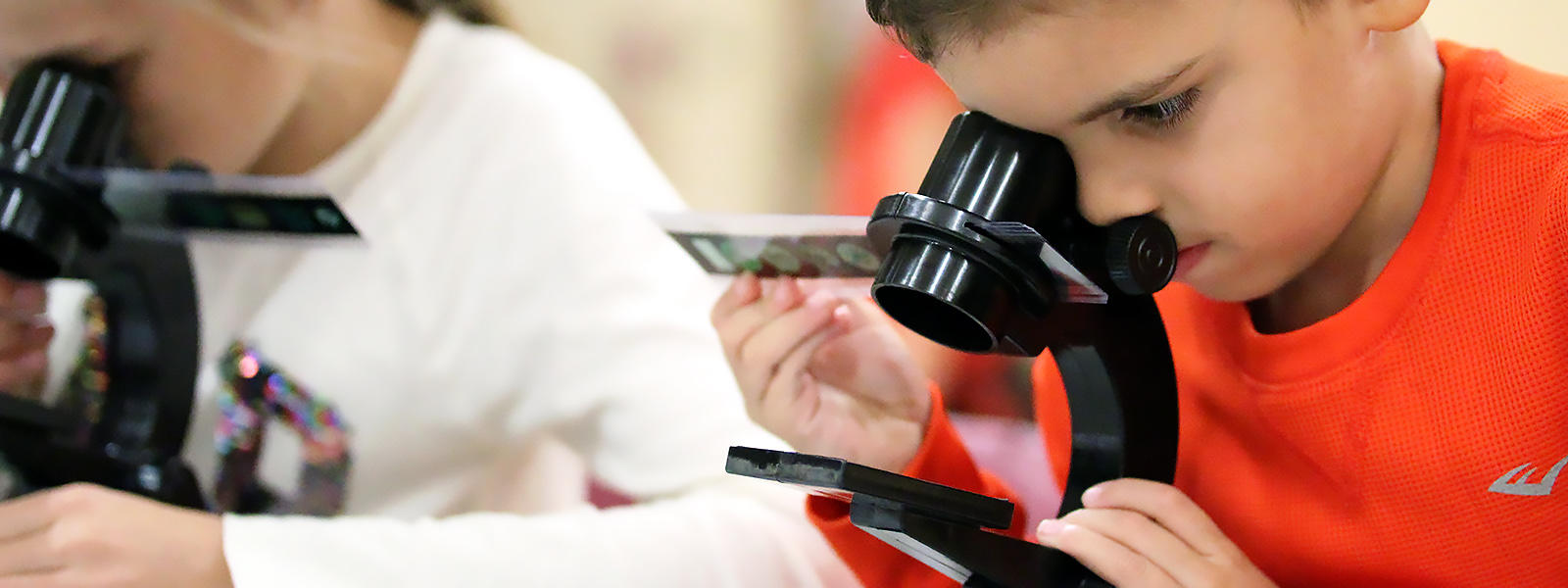 A District 401 elementary student looks through a microscope.