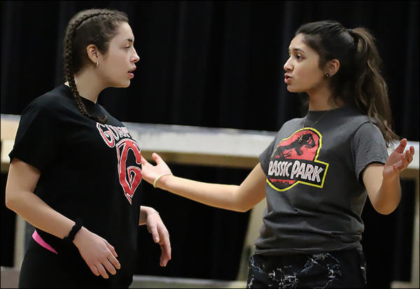 "Elizabeth Ruiz-Goranson And Grace Rajendran rehearse a scene from ""The Little Mermaid,"" this year's EPHS Spring Musical."