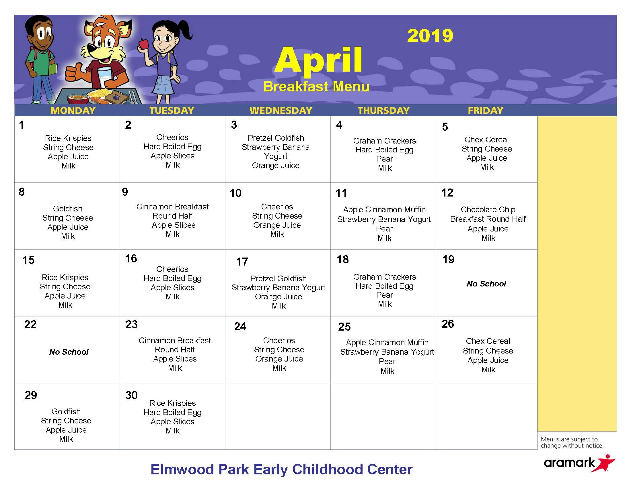 ECC breakfast menu April 2019