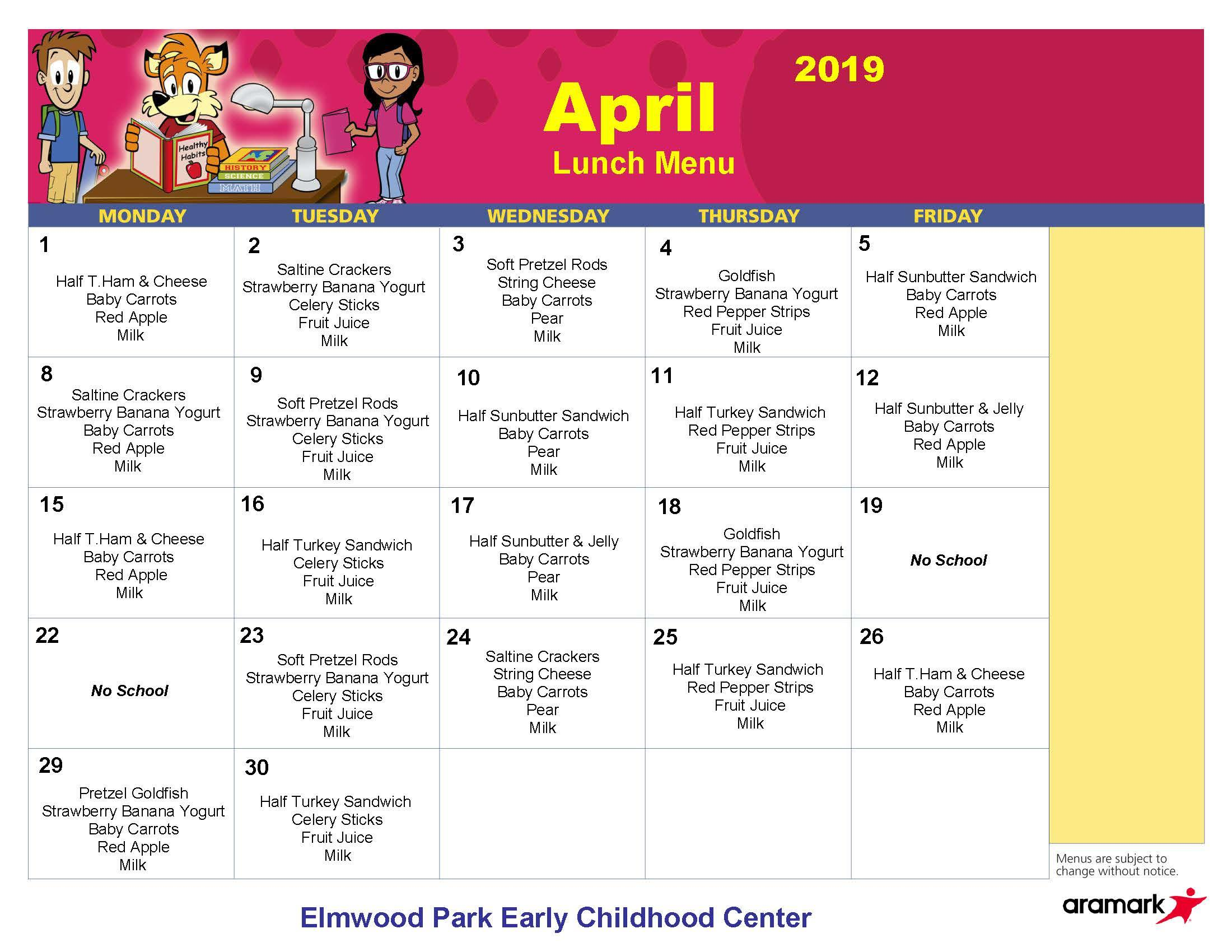 ECC lunch menu, April 2019