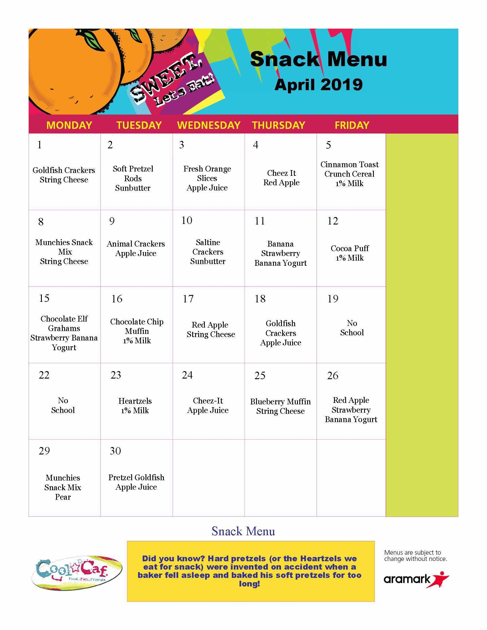 BASEC Snacks, April 2019