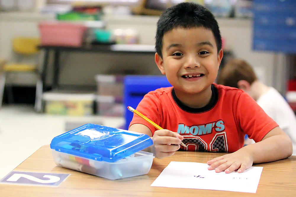 A kindergarten student in Ms. Barbara Bocka's afternoon class.