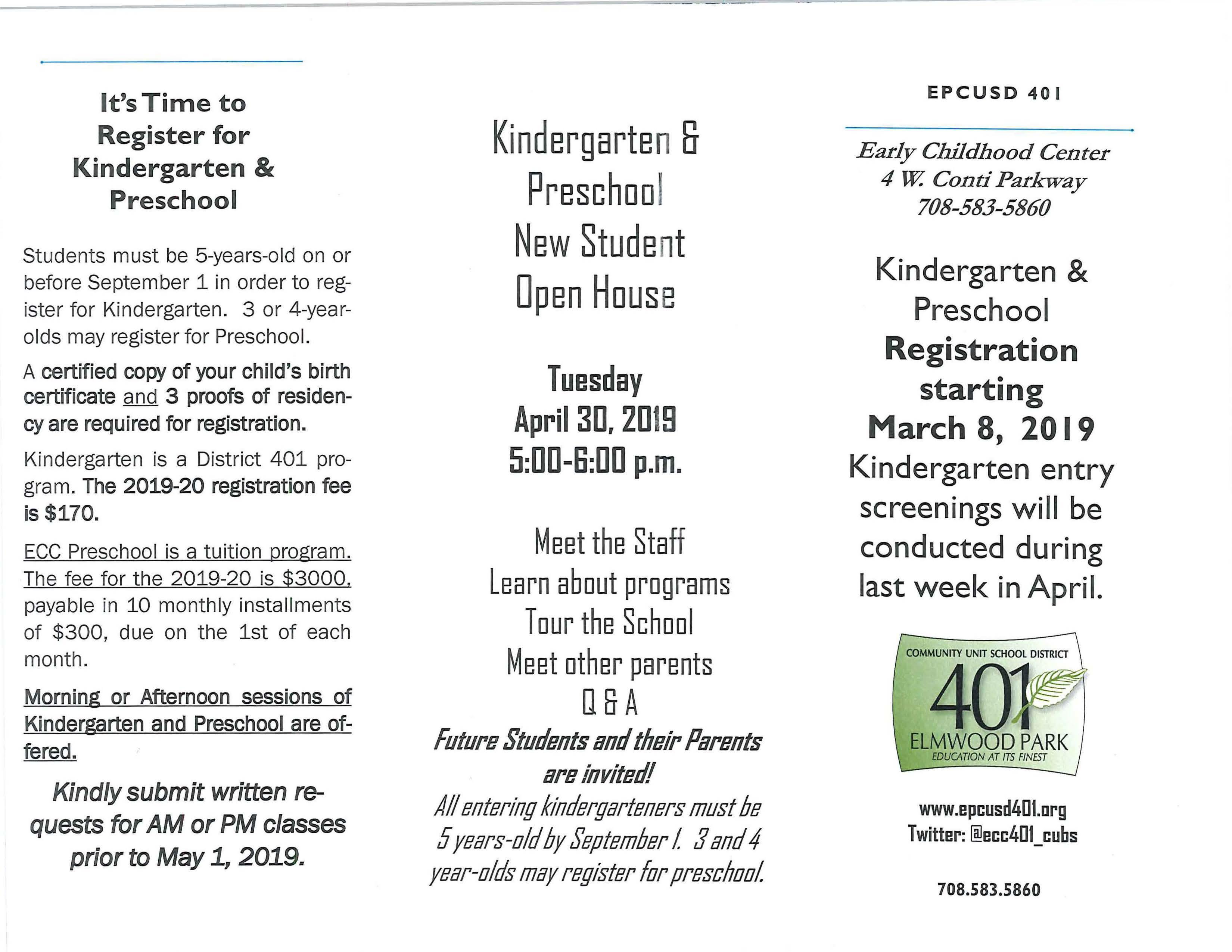 Ecc Calendar.Ecc Open House For New Kindergarten Preschool Students April 30