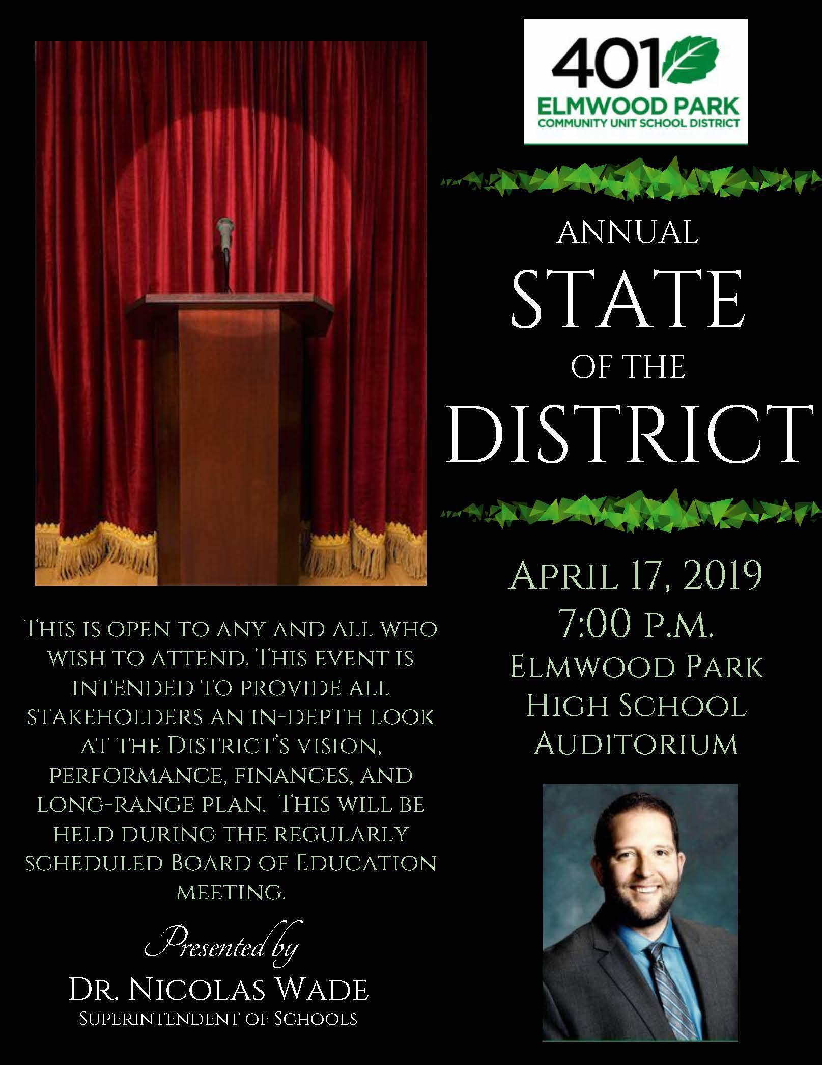 2019 State of the District flyer