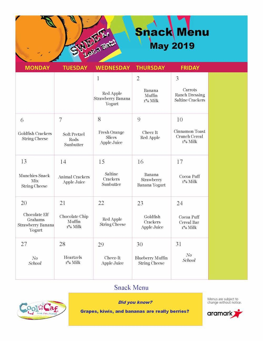 Elementary May 2019 BASEC snacks