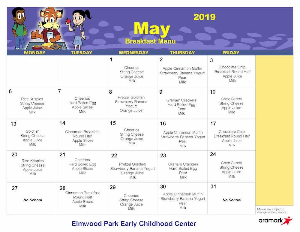 ECC May 2019 breakfast menu