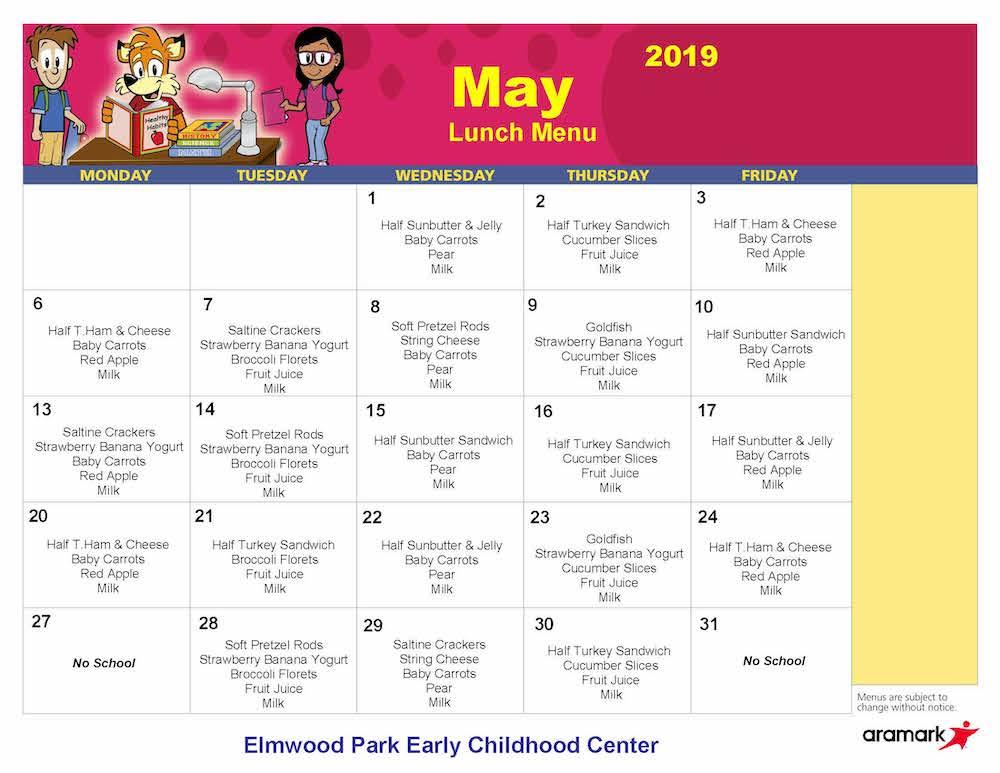 ECC May 2019 lunch menu