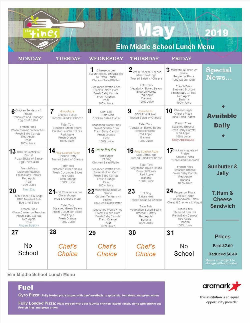 Elm May 2019 lunch menu