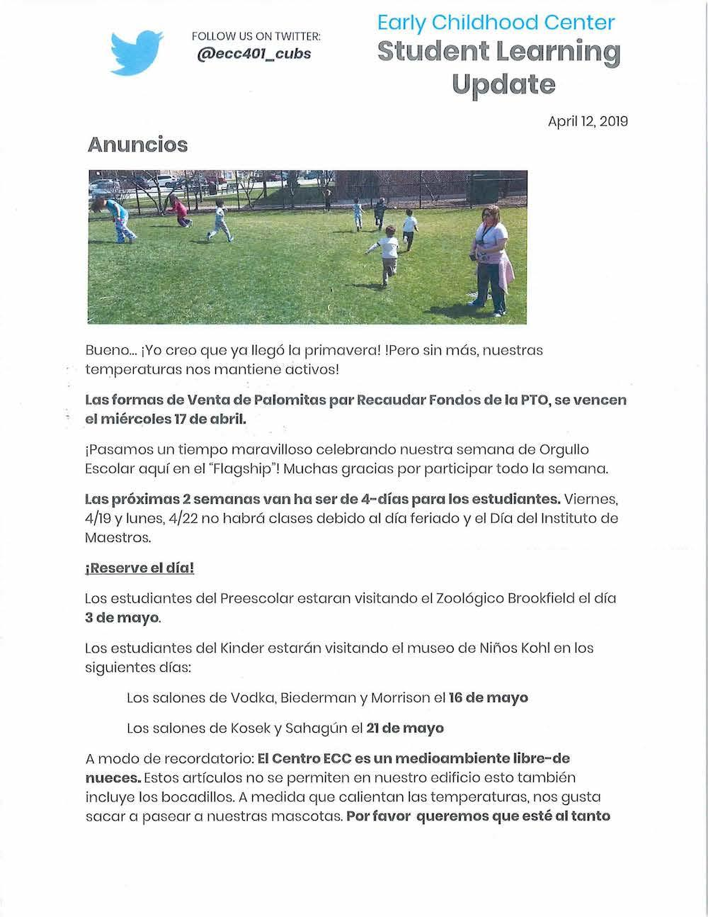 ECC Newsletter, April 12, 2019, Spanish, page 1