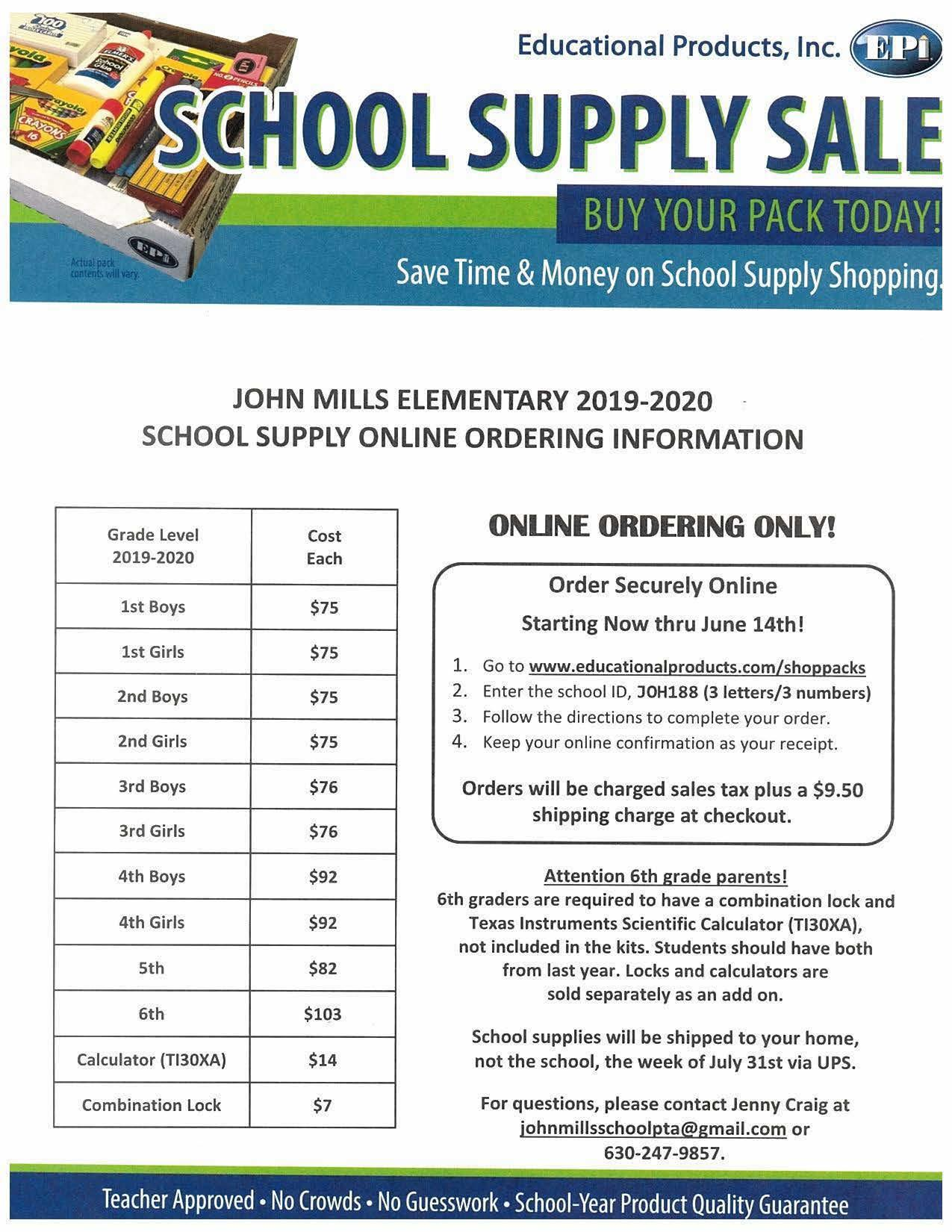 John Mills school supply ordering flyer