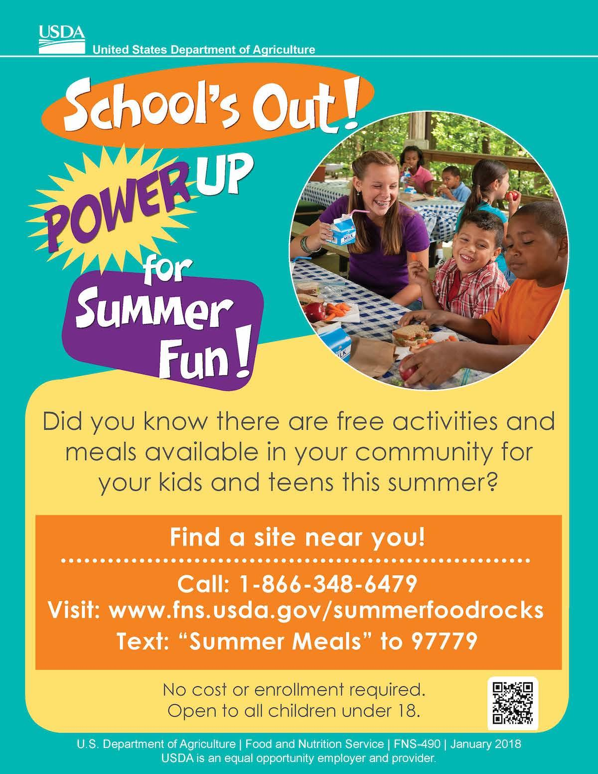 Summer Meals flyer in English