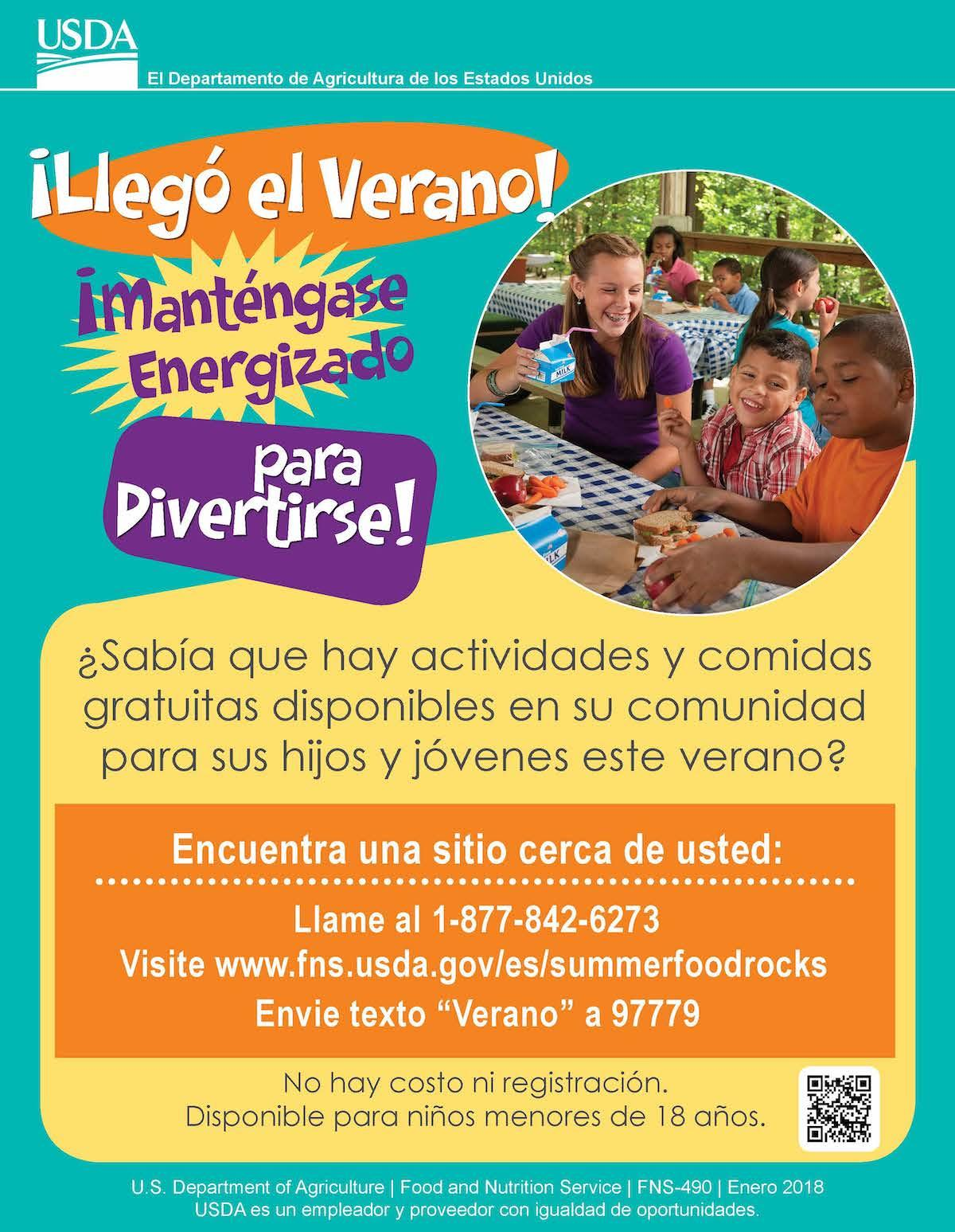 Summer Meals flyer in Spanish