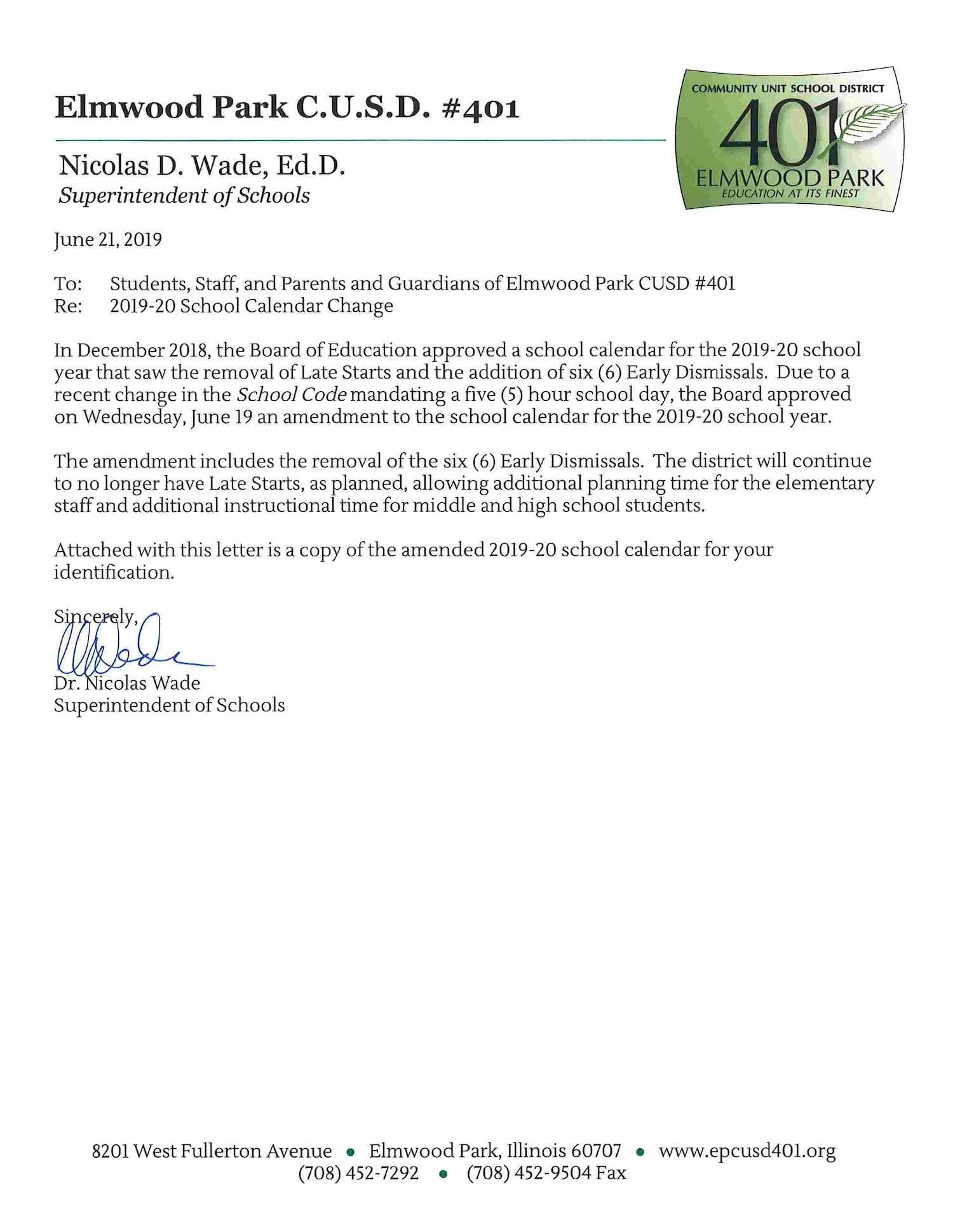 Letter from Dr. Wade about 2019-20 calendar changes