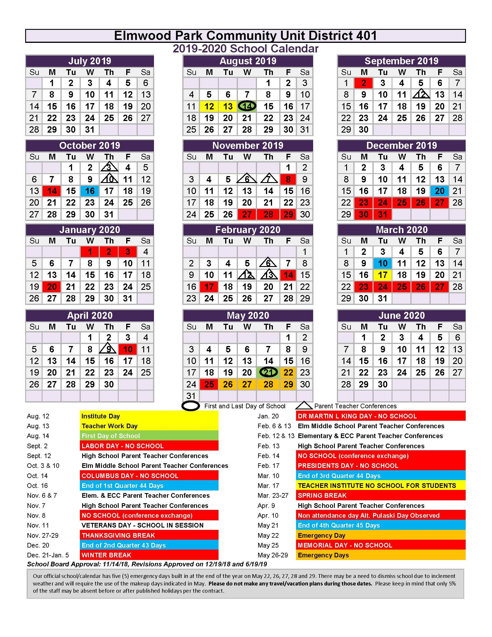 2019-20 District 401 School Year Calendar