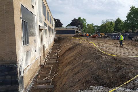 Elm Middle School construction project under way, summer 2019.
