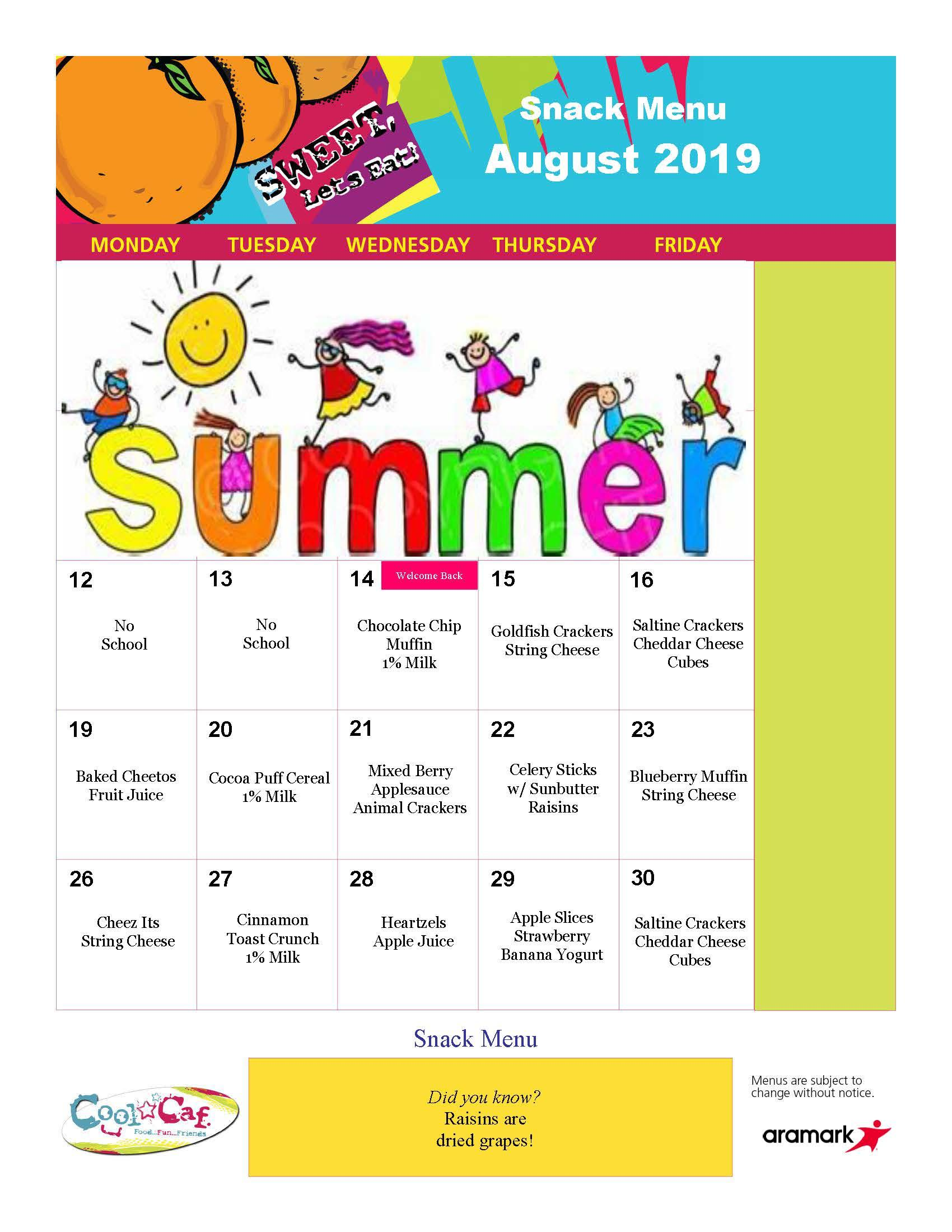 BASEC snacks for August 2019