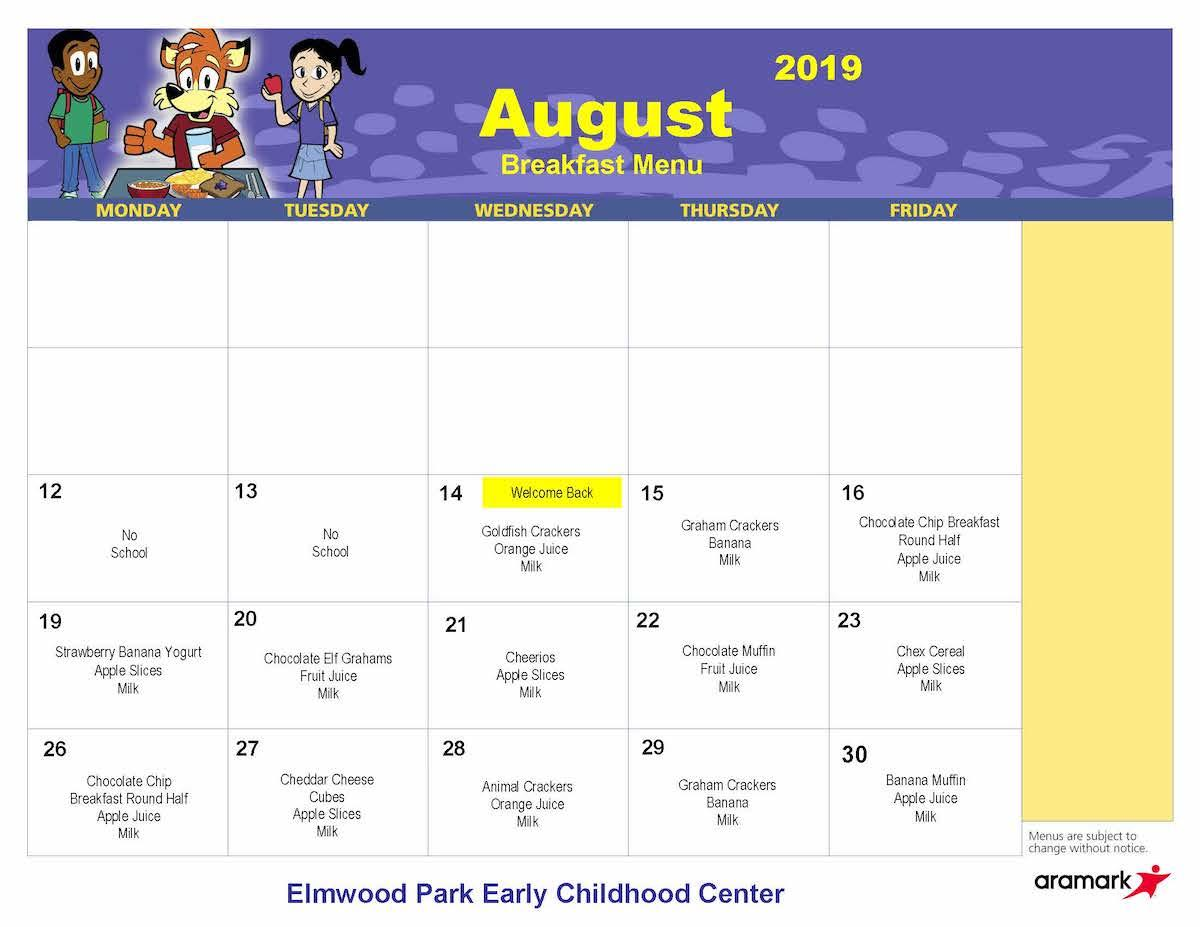 ECC August 2019 breakfast menu