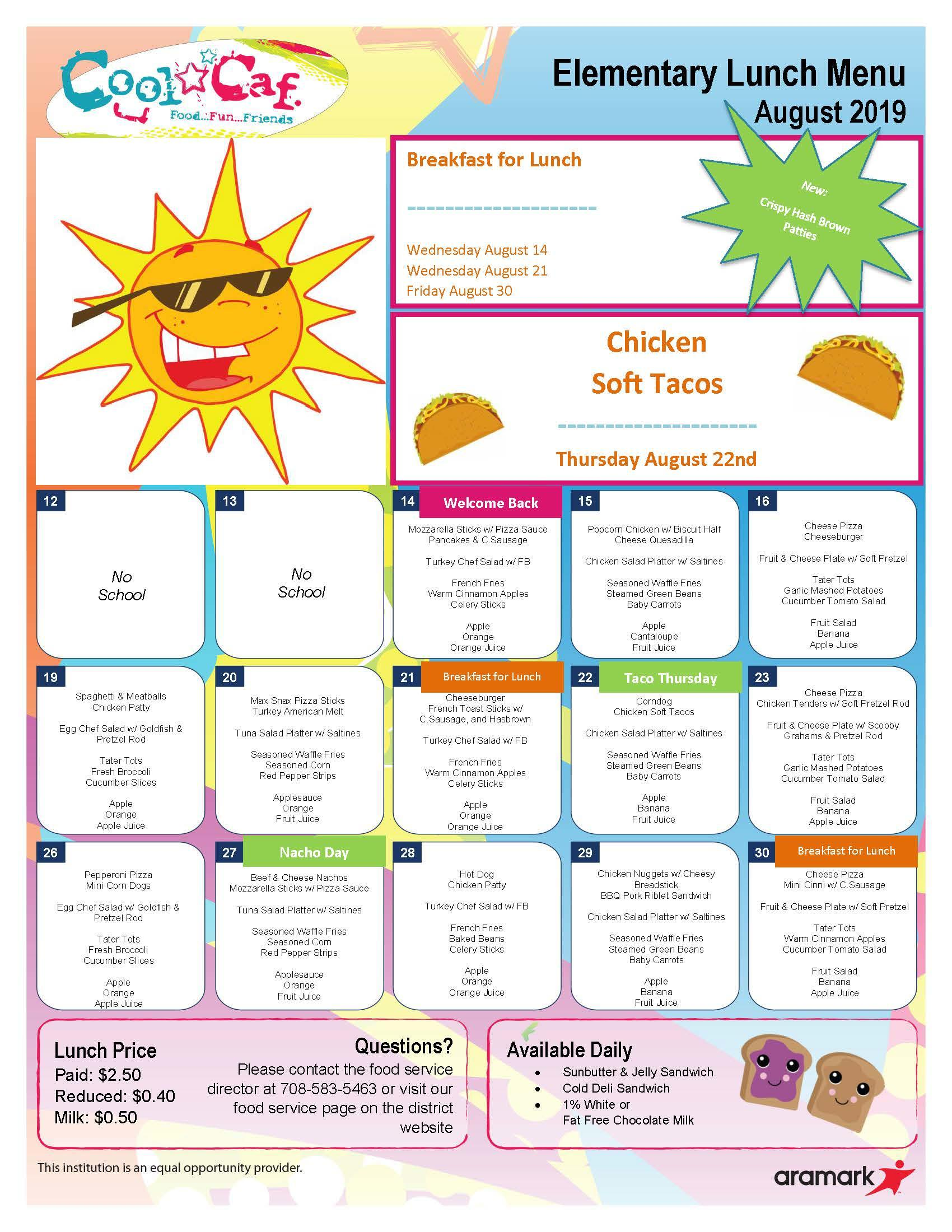 Elmwood lunch menu for August 2019