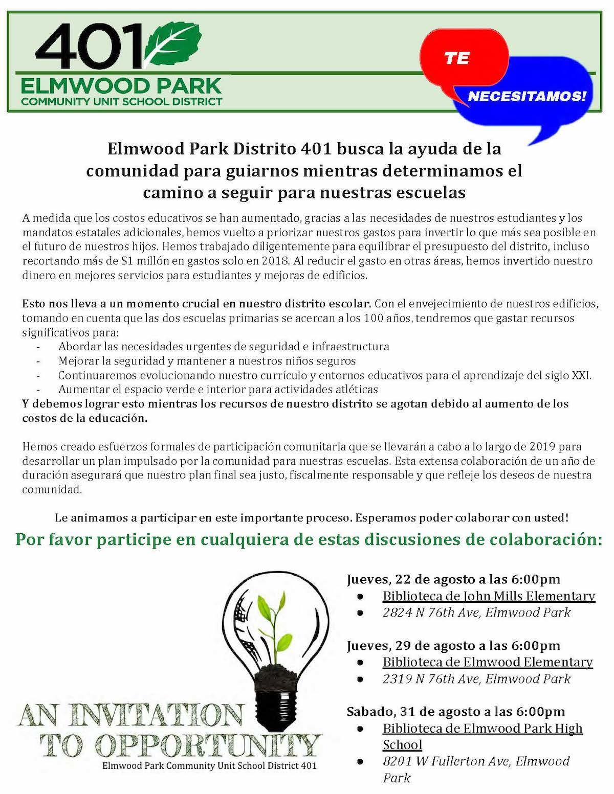 Community engagement flyer in Spanish