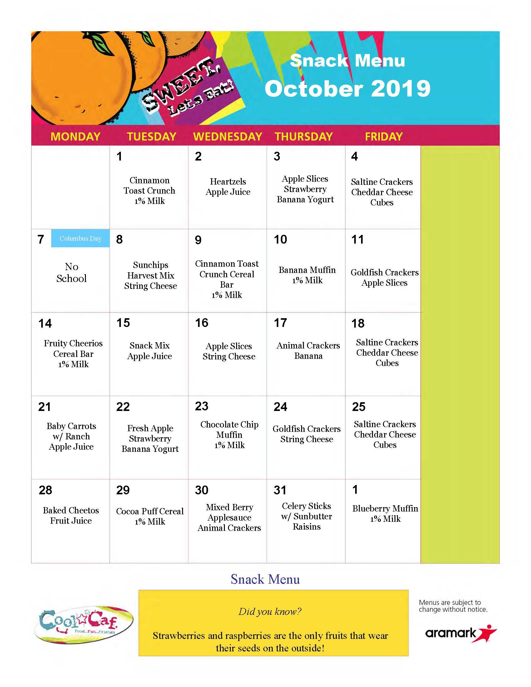Elmwood BASEC Snack Menu, October 2019