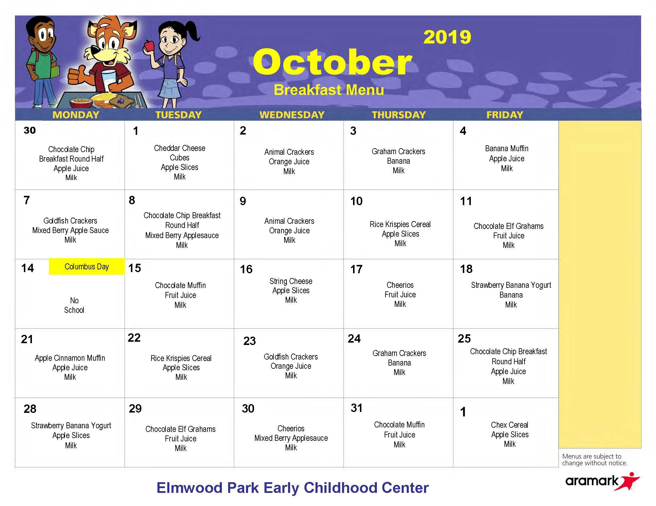 ECC Breakfast Menu, October 2019
