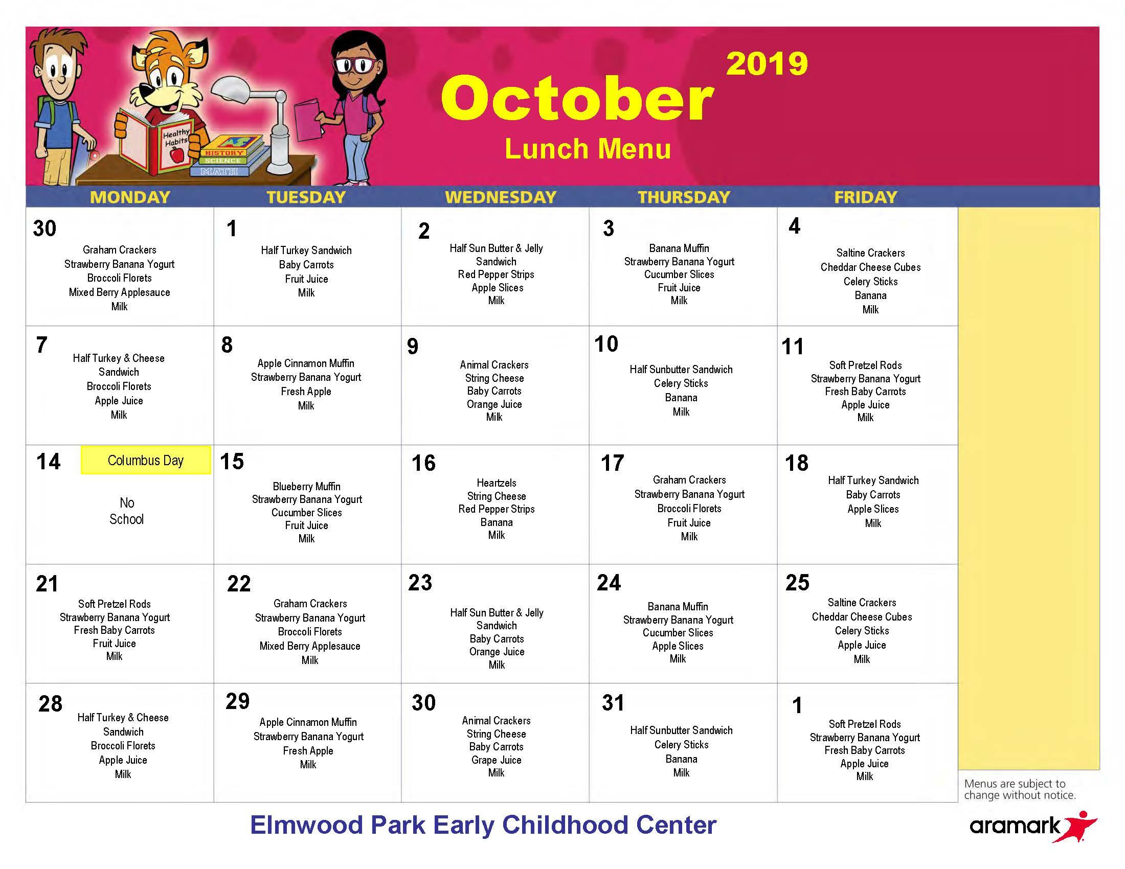 ECC Lunch Menu, October 2019