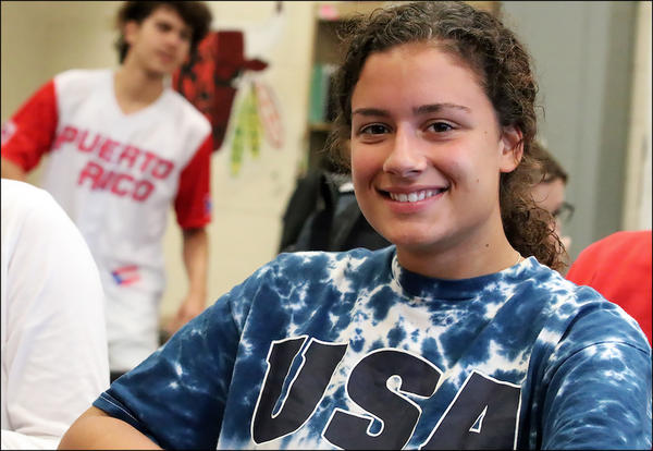 Senior Geti Zani sports a USA sweatshirt on 'Merica Day.