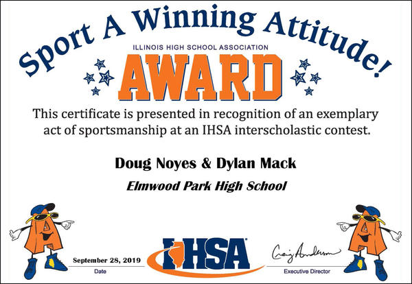 IHSA certificate for outstanding sportsmanship, awarded to Athletic Director Douglas Noyes and Head Football Coach Dylan Mack