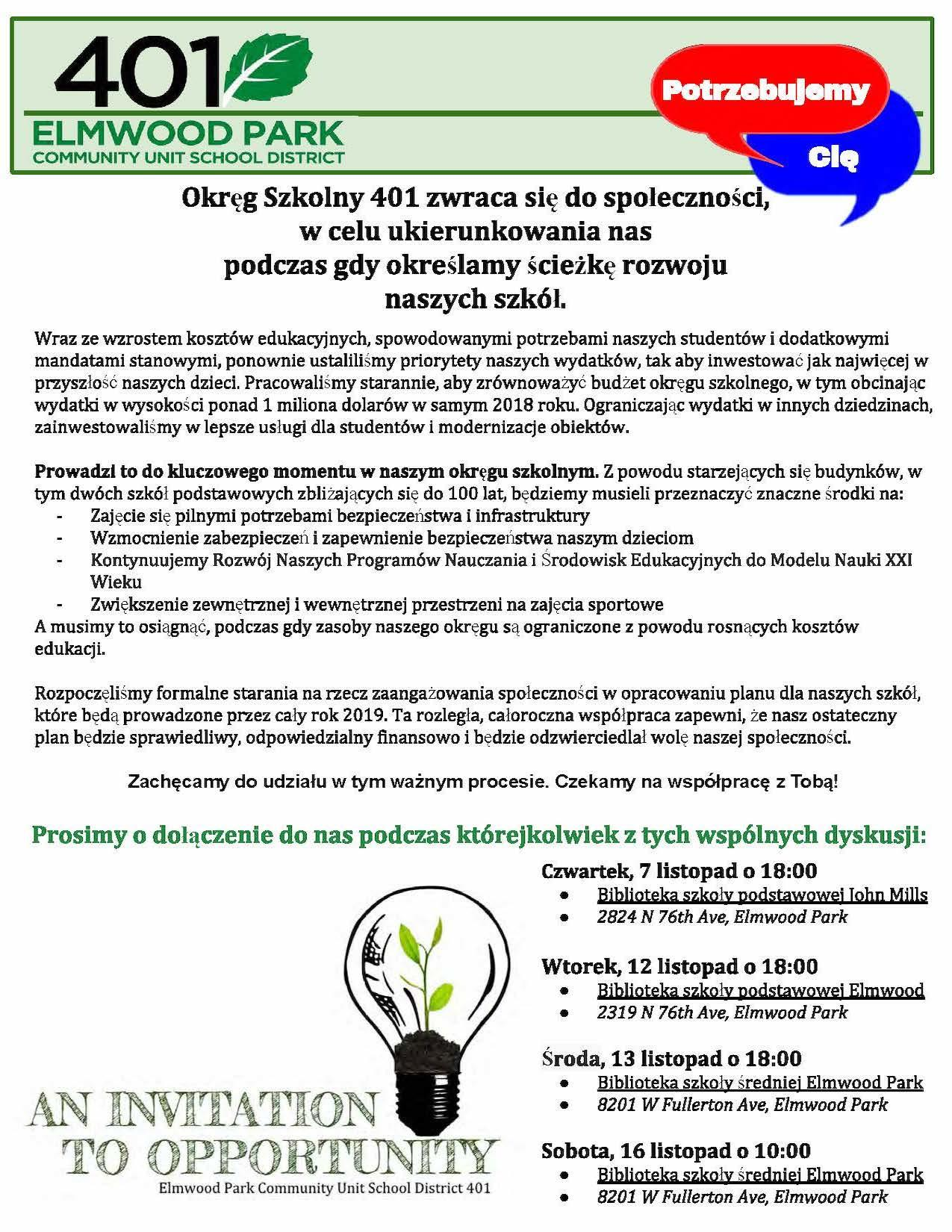 Community engagement flyer in Polish