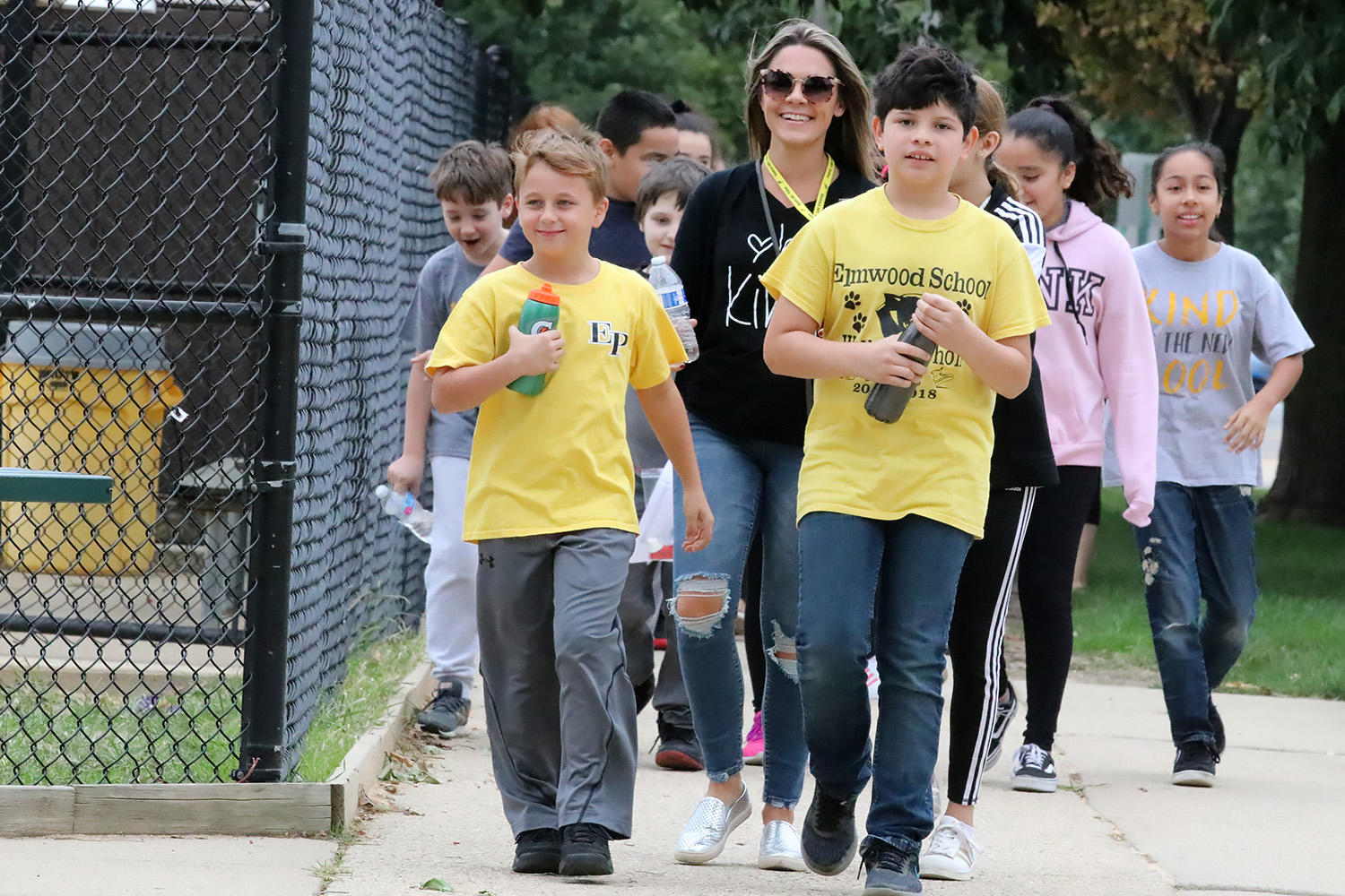 Elmwood students and chaperones participate in the school's PATT Walkathon.