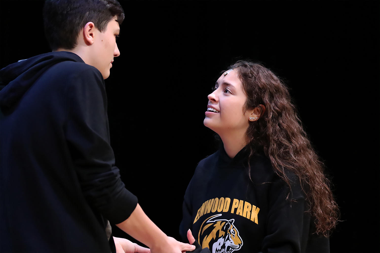 Seniors Koko Hristov and Elizabeth Ruiz-Goranson rehears their roles as Daniel and Ti Moune.
