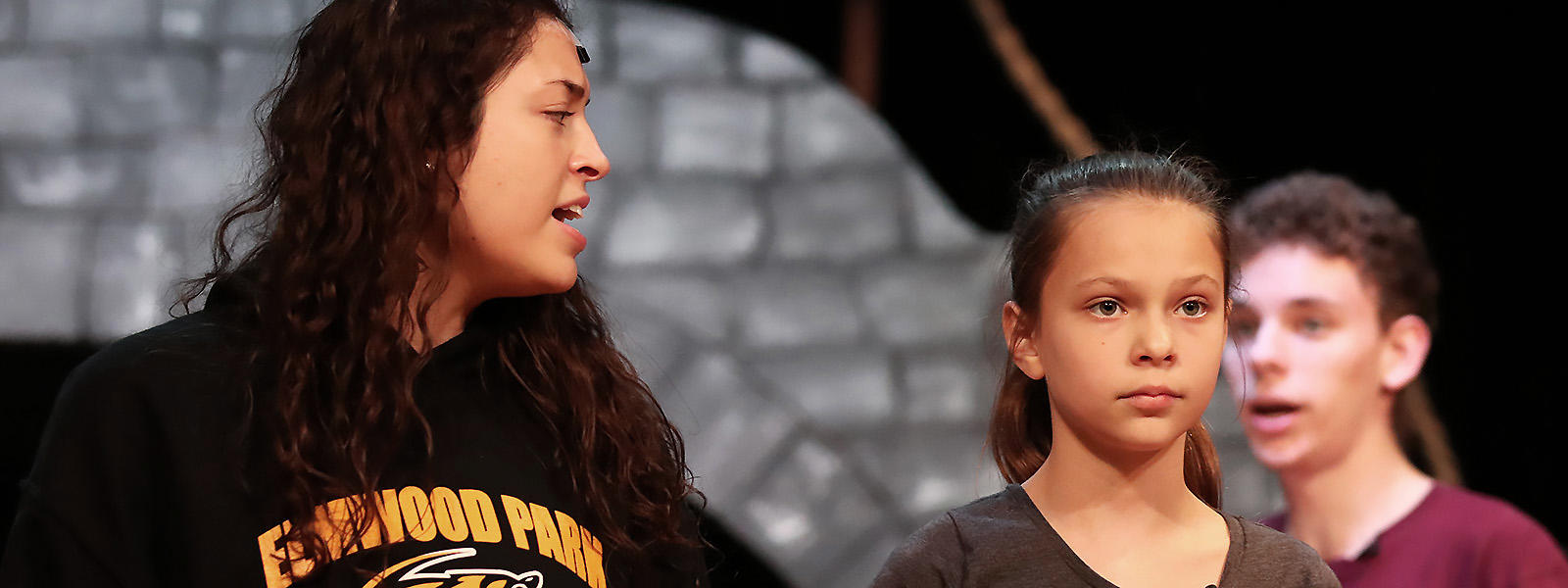 Elm student Zoe Rice (center) rehearses a number from the 2019 EPHS Fall Musical with senior Elizabeth Ruiz-Goranson and junior Quinn Skelly.