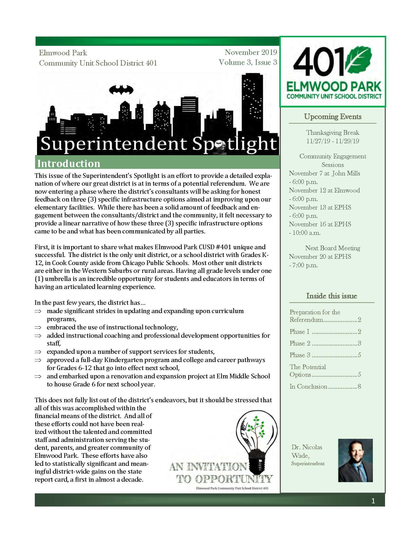 Superintendent Spotlight, November 2019, Issue 3, English, page 1