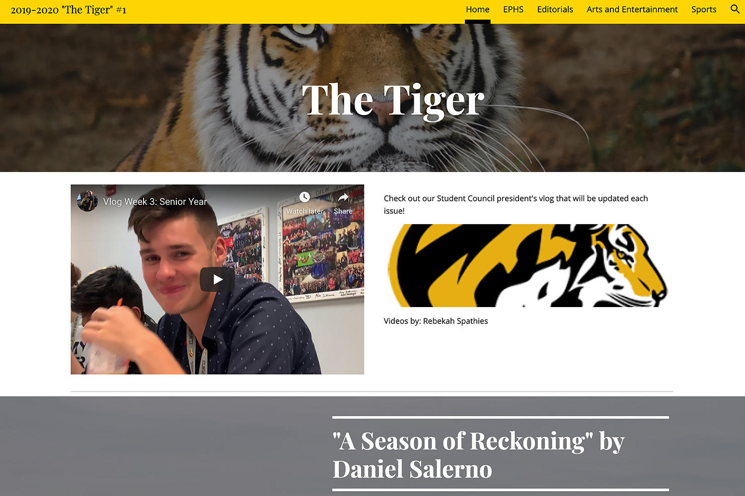 The Tiger student newspaper, Issue 1, September 2019