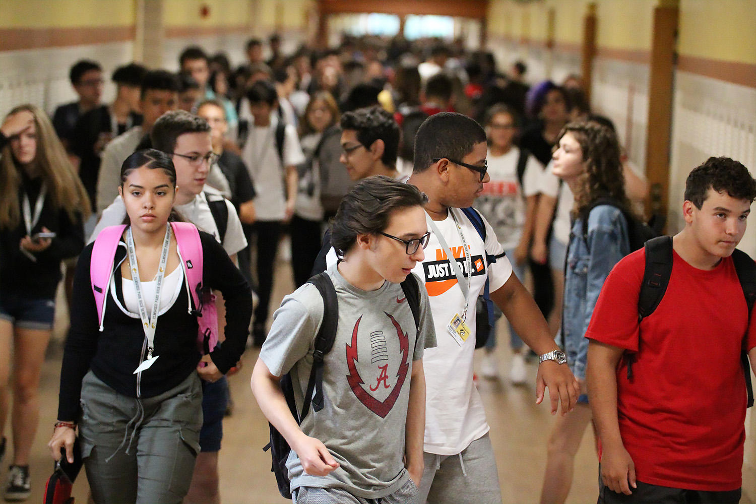EPHS students walk in the school hallways between classes.