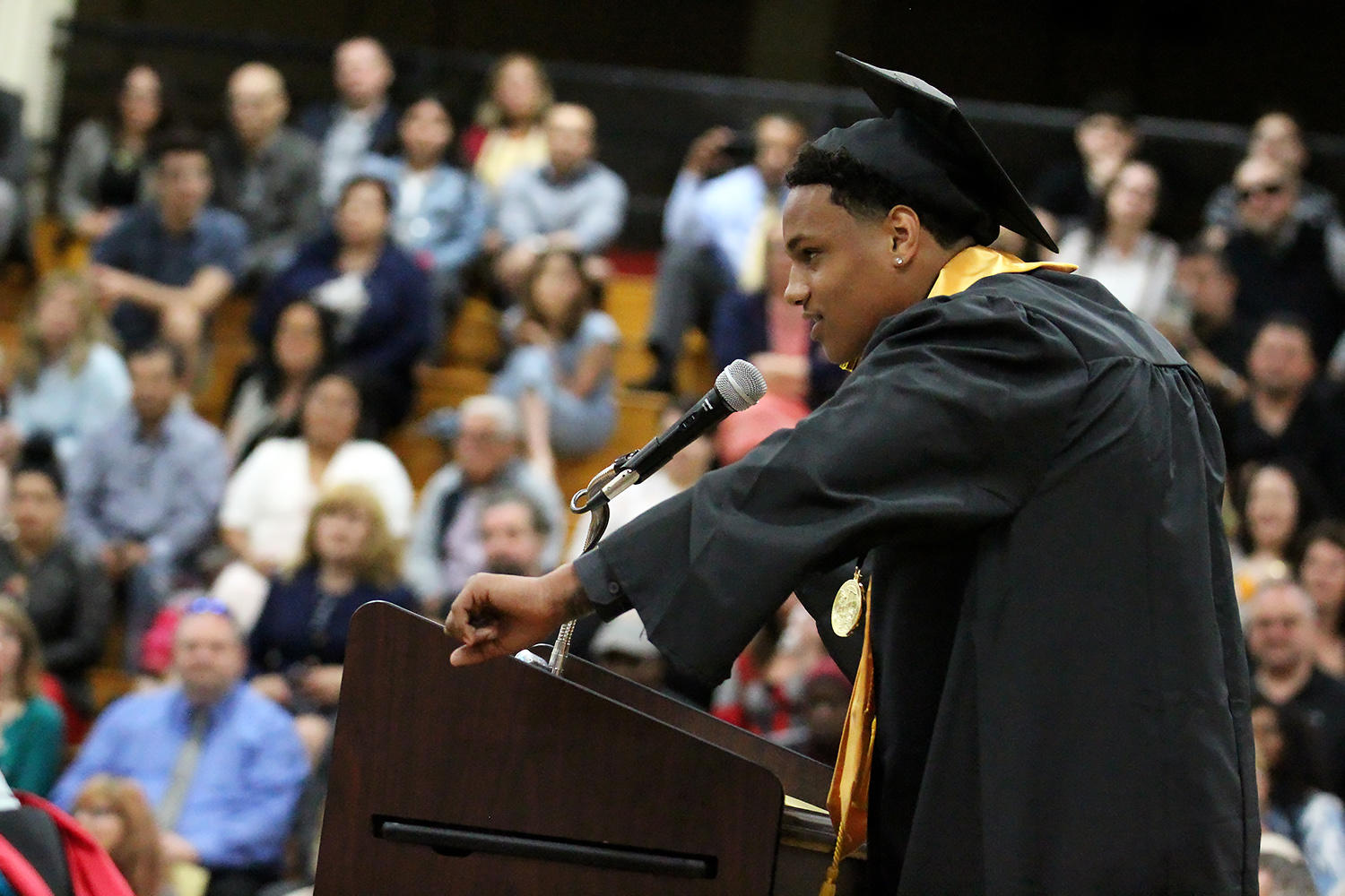 The 2019 EPHS valedictorian delivers a speech at the school's graduation ceremony in May.