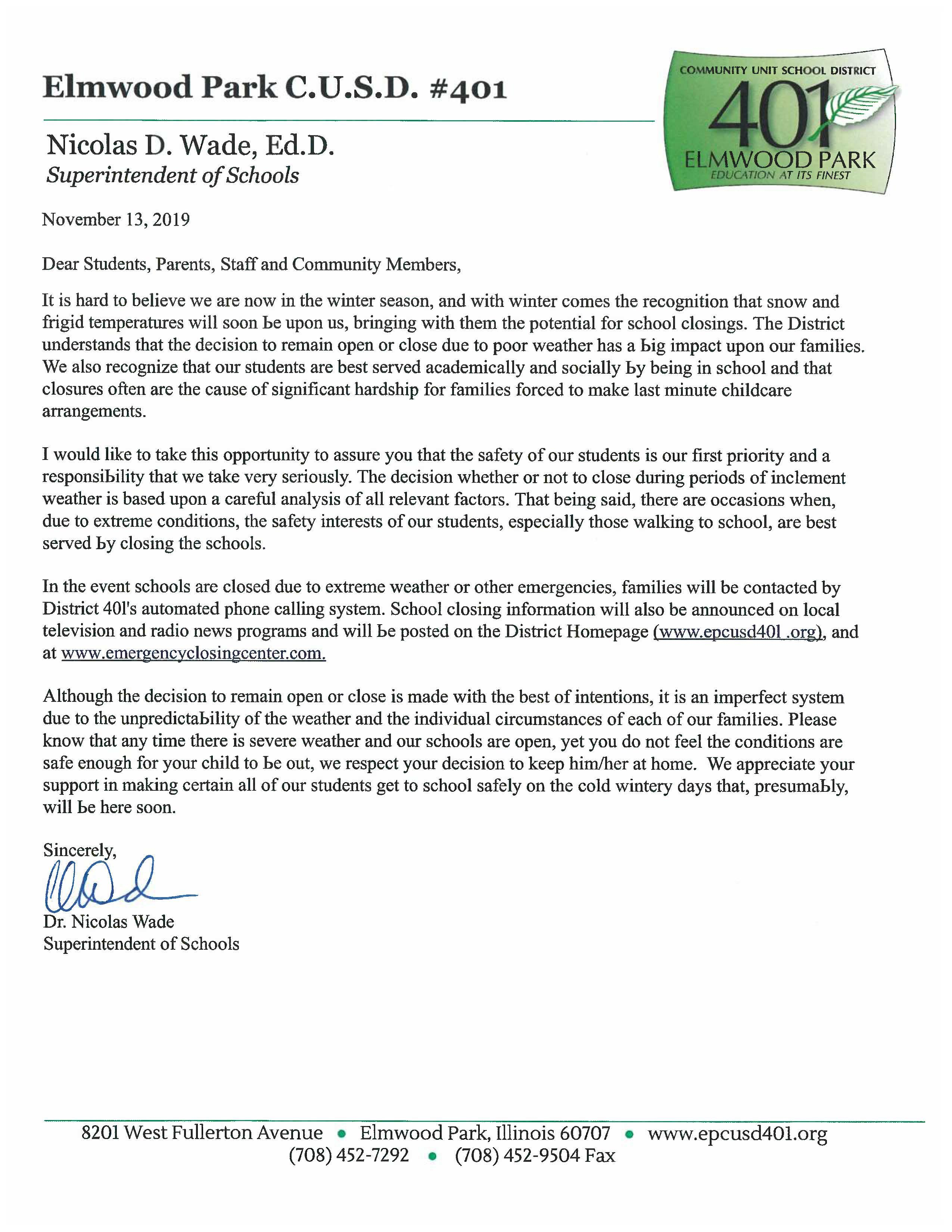 Dr. Wade's letter on winter closings, English