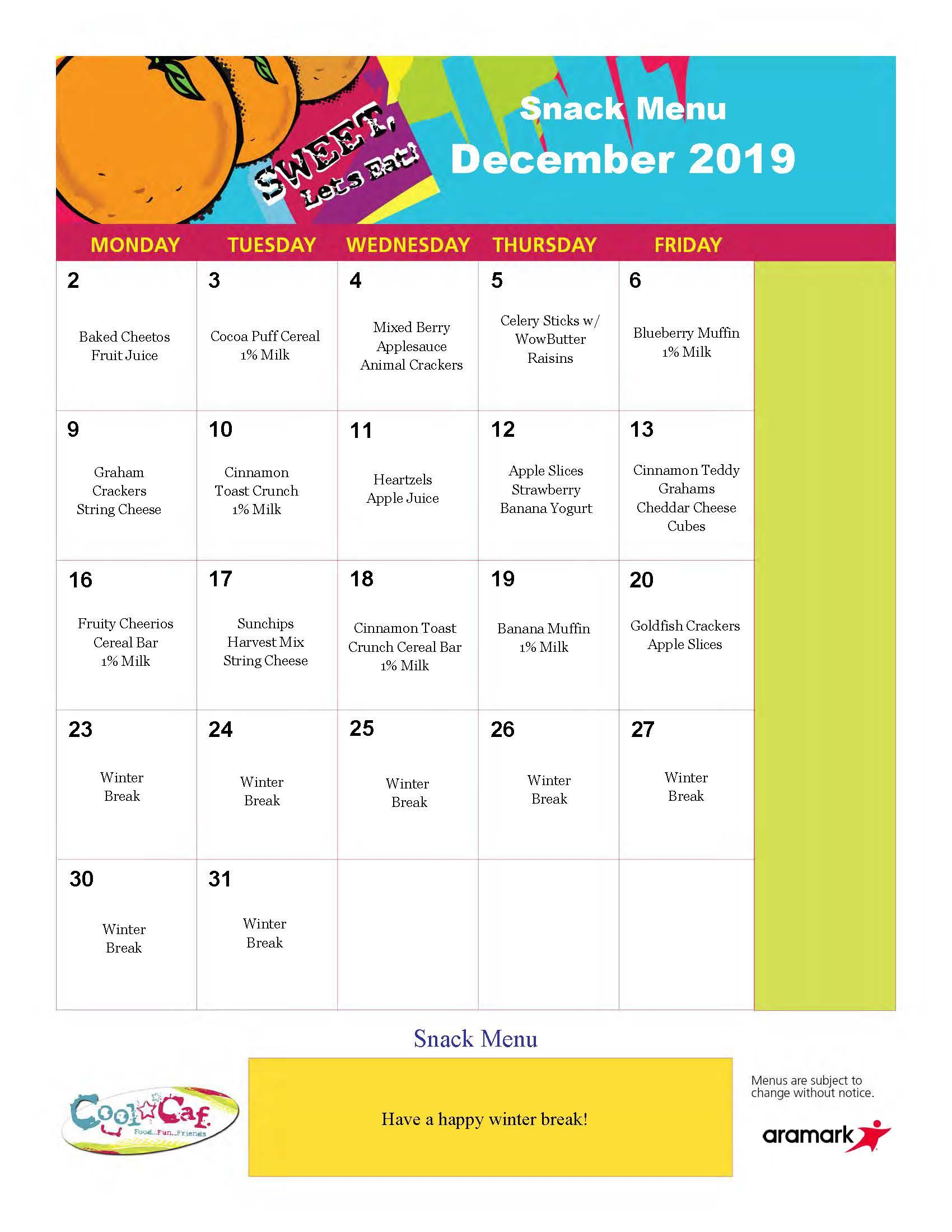 Elmwood BASEC, December 2019 menu