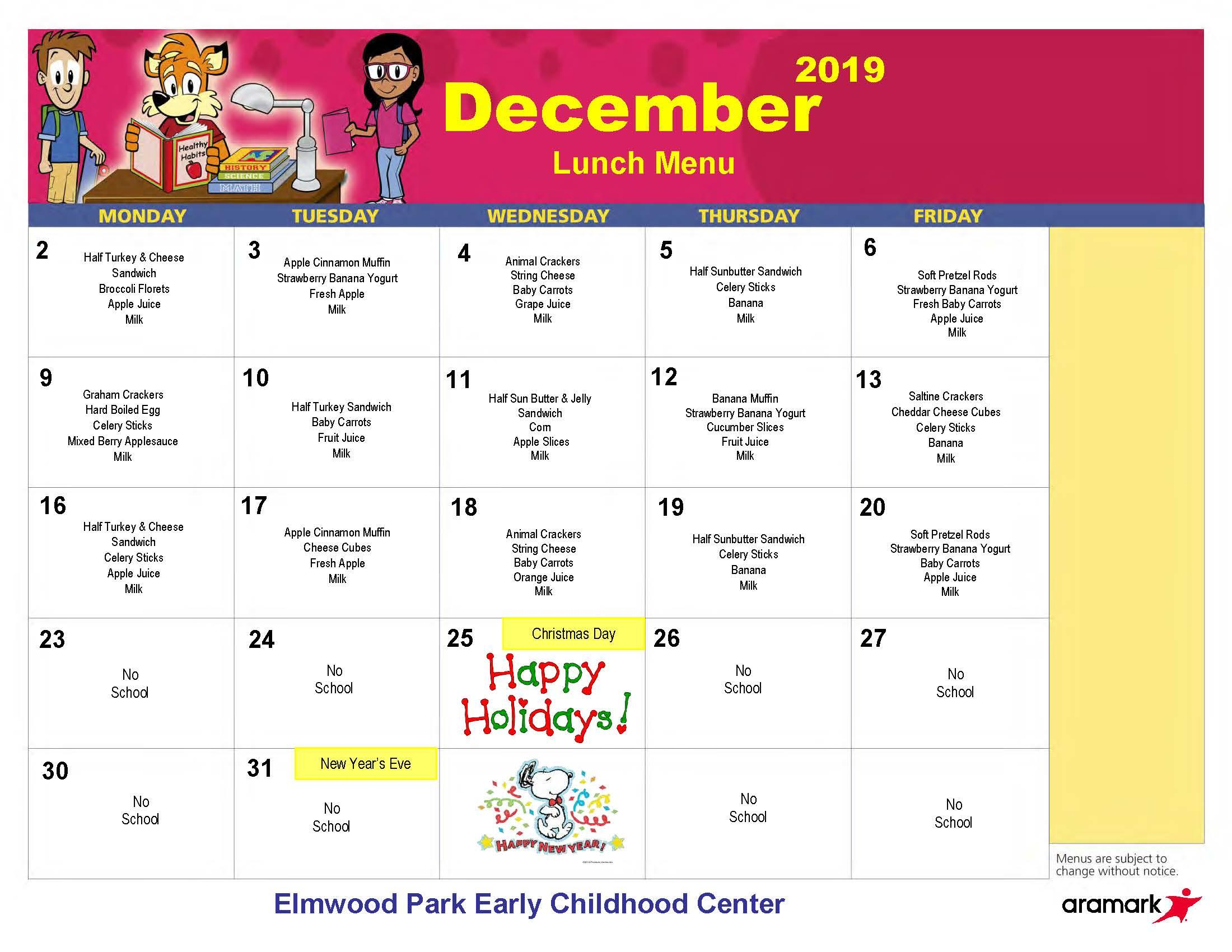 ECC lunch menu, December 2019