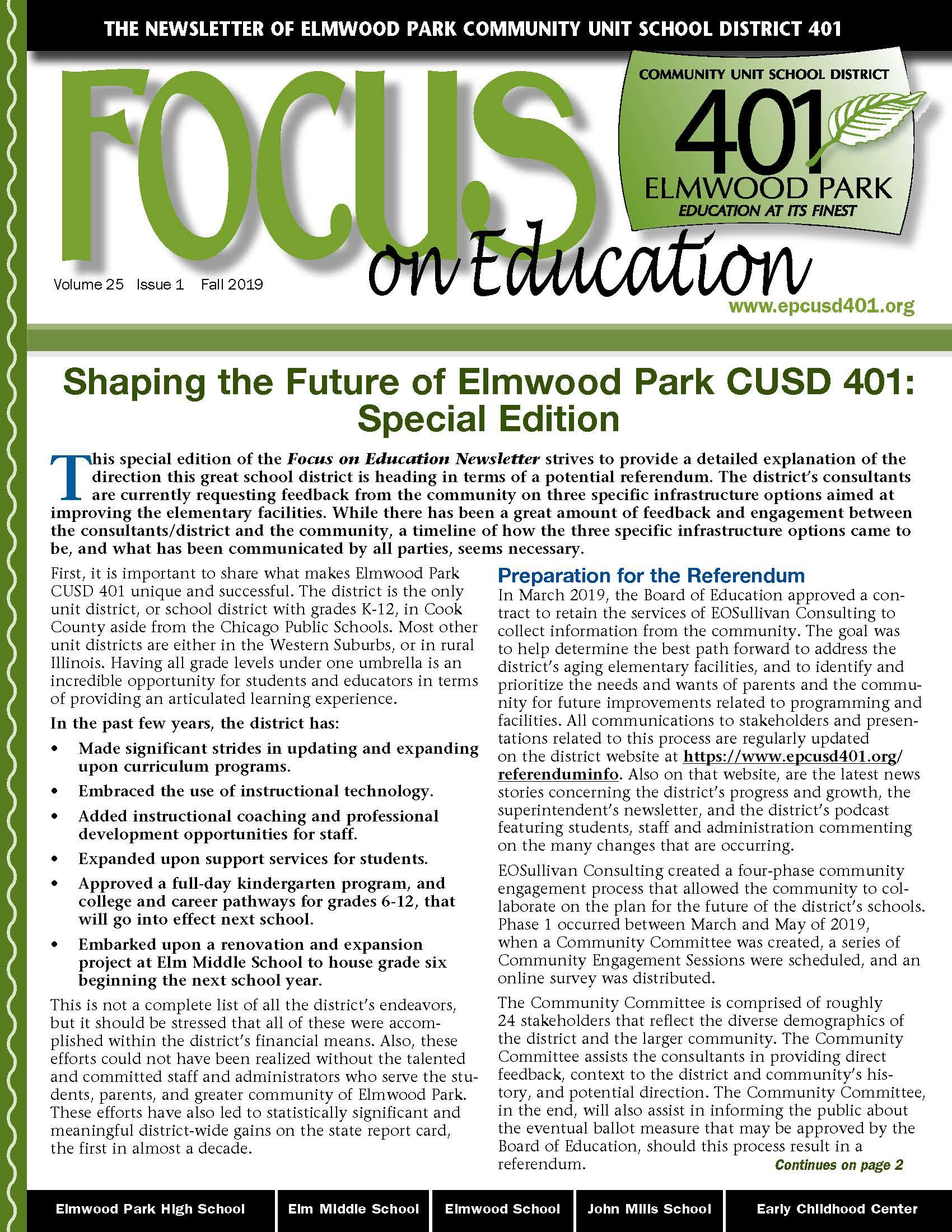 Focus on Education, Vol. 25, Issue 1, Fall 2019