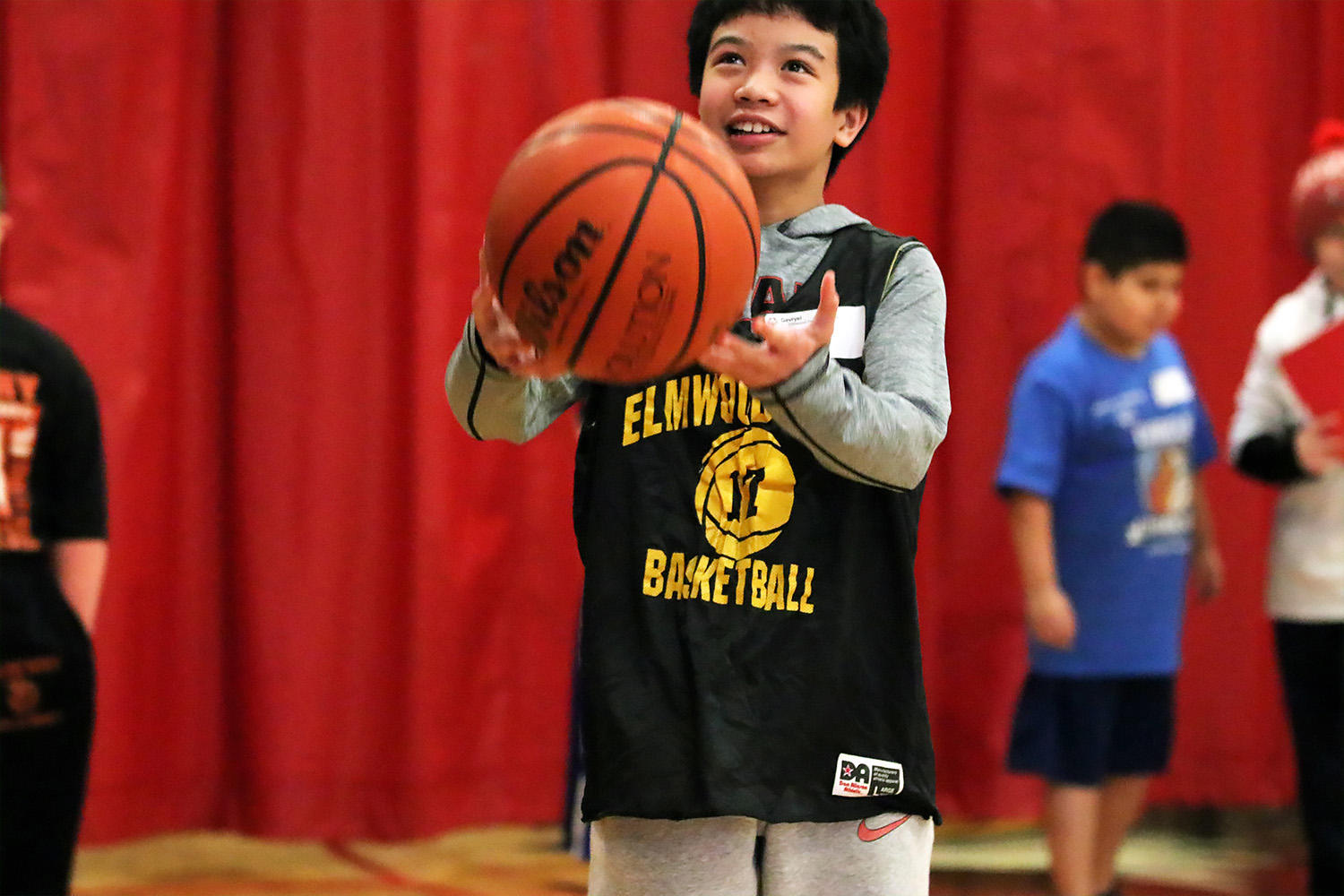 District 401 student competes in the Special Olympics basketball skills event.