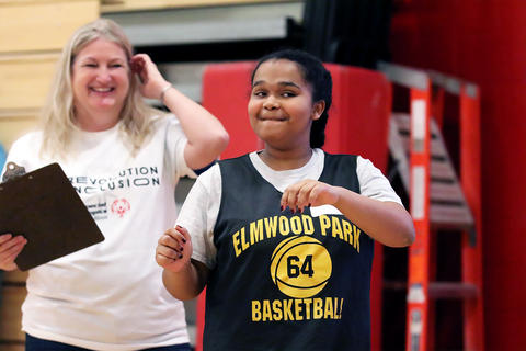 The District 401 Special Olympics team makes its debut in a Special Olympics Illinois basketball skills event held Dec. 7, 2019, at Eisenhower Junior High School in Hoffman Estates.