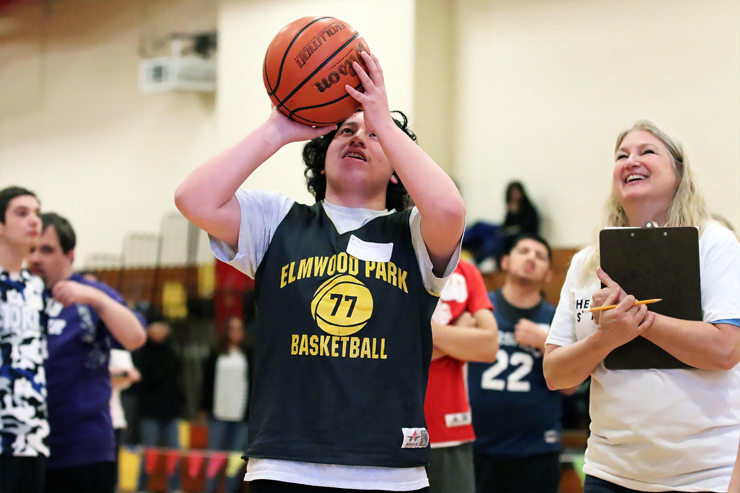 Luis from EPHS competes in the Special Olympics Illinois basketball skills event.